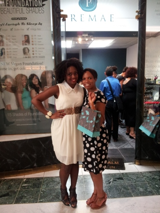 Lady Clare Eluka and Fuzzy Monz-Star outside the Premae Skincare flagship store